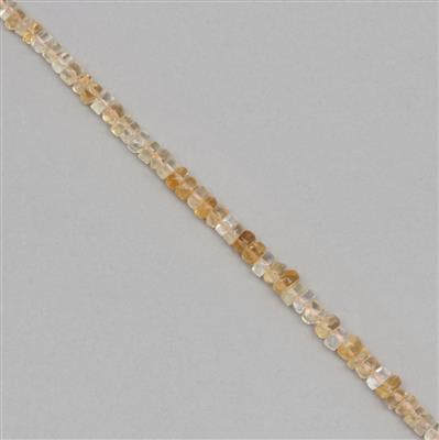 65cts Citrine Graduated Plain Wheels Approx 2x1 to 6x3mm, 30cm Strand