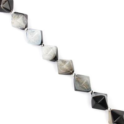 400cts Black and White Agate Bicones Approx 18x17 - 21x19mm 38cm strand