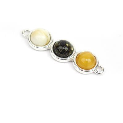 Baltic Multi Colour Amber Sterling Silver Connector, Approx. 25x8mm (Butterscotch, Off-White, Earthy)