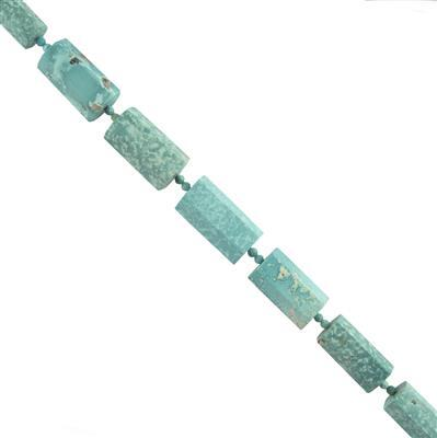 110cts Turquoise Graduated Faceted Barrels Approx 13x7 to 19x10mm, 14cm Strand.