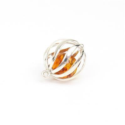 Baltic Cognac Amber Bead Round with Sterling Silver Element Approx 22x16mm