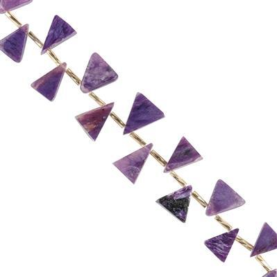 55cts Charoite Graduated Plain Triangle Slices Approx 7 to 12mm, 14cm Strand.