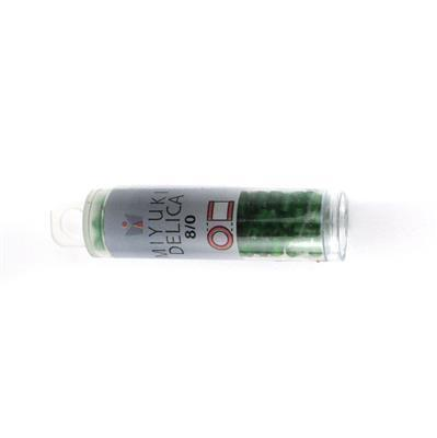 Miyuki Delica Matte Transparent Green Beads 8/0 Approx 6.8GM/TB