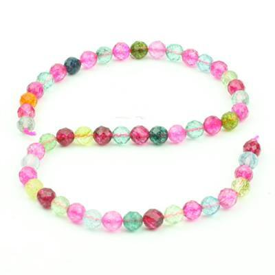 150cts Multi-Colour Crackled Quartz Faceted Rounds Approx 8mm