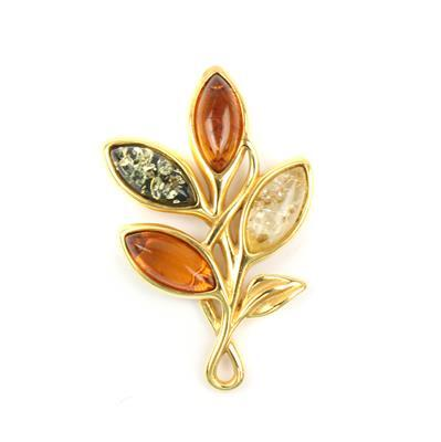 Baltic Cognac, Lemon, Green Amber Marquise Cabochons Pendant Approx 28x18mm Gold Plated Sterling Silver Element