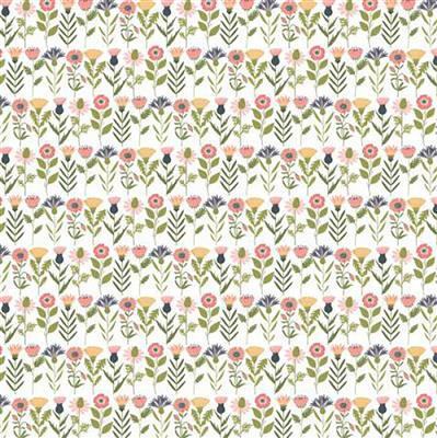 Daisy Mae Country Life Flowers on White Fabric 0.5m