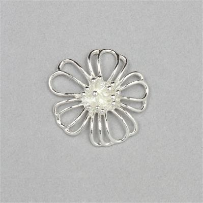 925 Sterling Silver Flower Charm Approx 20mm (1pcs)