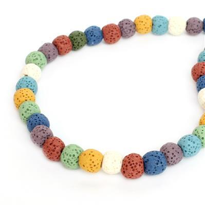 Min 120cts Multi-Colour Lava Rock Beads Round Approx 8x9mm 38cm