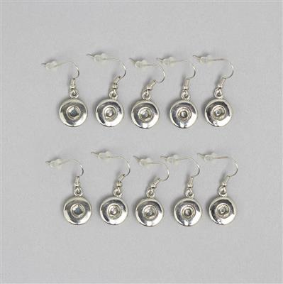 Silver Plated Copper Snap Drop Earring Findings 12mm (5 pairs)