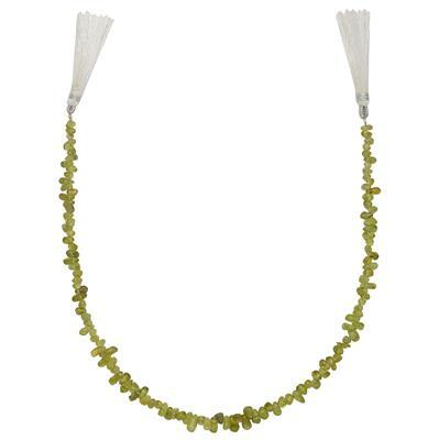 70cts Peridot Graduated Irregular Plain Drops Approx 4x2 to 8x4mm, 30cm Strand.