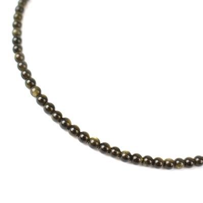35cts Golden Obsidian Plain Rounds Approx 4mm 38cm strand