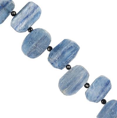 90cts Kyanite Graduated Fancy Matte Finished Approx 14x10 to 17x11mm, 8cm Strand.