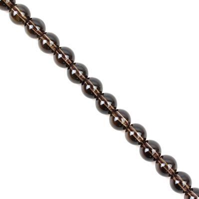 240cts Smokey Quartz Plain Rounds Approx 10mm, 38cm strand