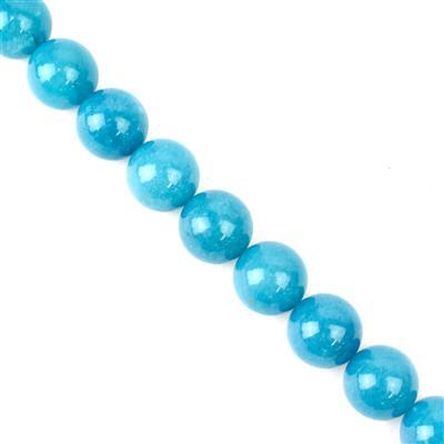 890cts Aqua Quartzite Plain Rounds Approx 18mm, 38cm strand
