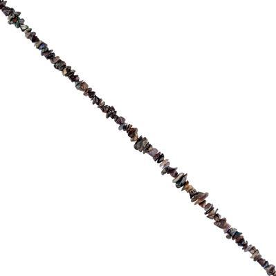 28cts Black Ethiopian Opal Plain Small Nuggets Approx 2x1 to 7x3mm, 38cm Strand.