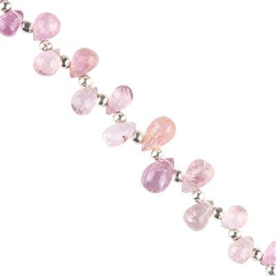 15cts Pink Imperial Topaz Graduated Plain Drops Approx 4x3 to 6x4mm, 8cm Strand.