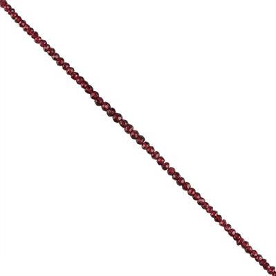 42cts Garnet Graduated Faceted Rondelles Approx 2x1 to 4x3mm, 30cm Strand.