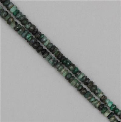 130cts Shaded Emerald Graduated Faceted Rondelles Approx 2x1 to 6x3mm, 79cm Strand.