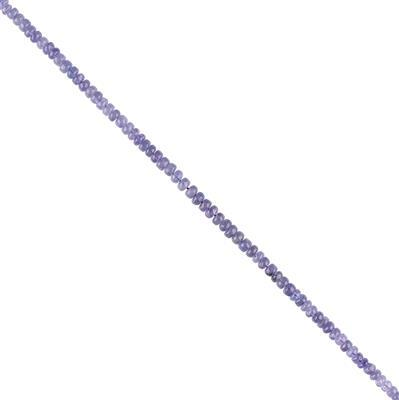 30cts Tanzanite Graduated Plain Rondelles Approx 3x2 to 4x2mm, 16cm Strand.