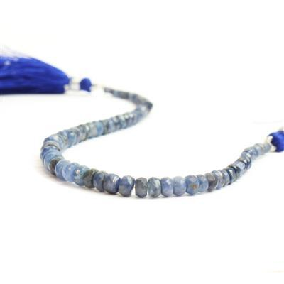 30cts Natural Burmese Sapphire Graduated Faceted Rondelles Approx 2x1 to 5x2mm, 18cm Strand.