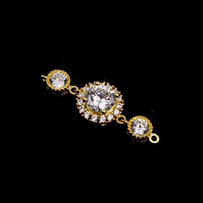 Gold Plated 925 Sterling Silver Cubic Zirconia Bracelet Connector,1pcs