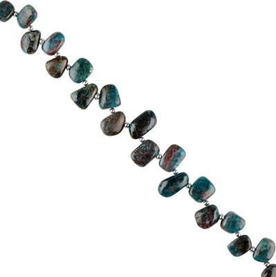 170cts Chrysocolla Graduated Plain Nuggets Approx 10x9 to 15x11mm, 18cm Strand.