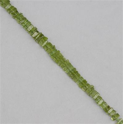 58cts Peridot Graduated Plain Squares Approx 3 to 5mm, 19cm Strand.