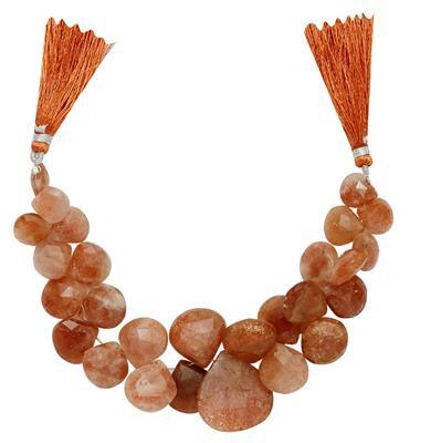 240cts Sunstone Graduated Faceted Drops Approx From 10 to 22mm, 15cm Strand.
