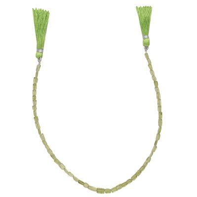 30cts Peridot Graduated Irregular Plain Rectangles Approx From 3x2 to 7x4mm, 28cm Strand.