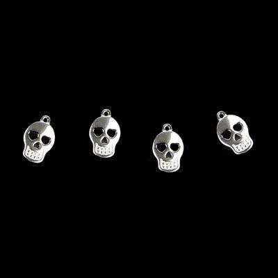 925 Sterling Silver Sugar Skull Charms 10x7mm, 4pk