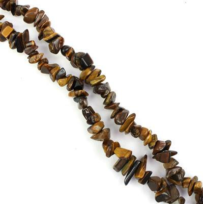 320cts Maple Tigers Eye Small Nuggets Approx from 7x4mm to 12x8mm, 82-86cm