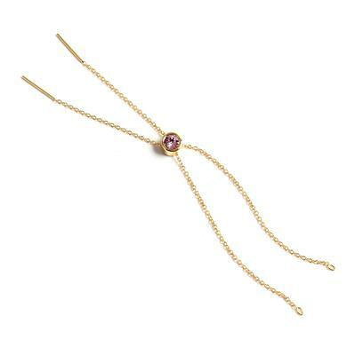 Gold Plated 925 Sterling Silver Slider Bracelet With Pink Swarovski Ball And Pin Ends, Total Length Approx 28cm