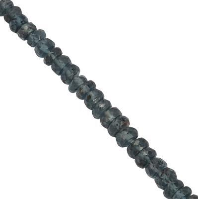 35cts Indigo Kyanite Graduated Faceted Rondelles Approx 3x1 to 5x3mm, 20cm Strand