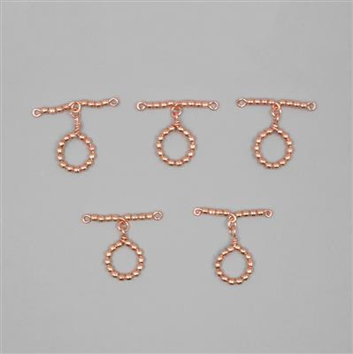 Rose Gold Plated Copper Beaded Toggle Clasp Approx 46mm T-Bar & Approx 23mm Round (5 Pcs)