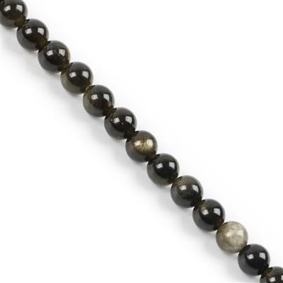 570cts Golden Obsidian Plain Rounds Approx 16mm 38cm strand