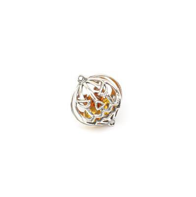 Baltic Cognac Amber Round Bead Connector Approx 19mm Sterling Silver 'Pumpkin' Element