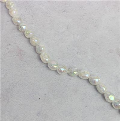 260cts Rainbow Coated Crackled White Polished Quartz Nuggets Approx 14x10mm, Approx 38cm strand