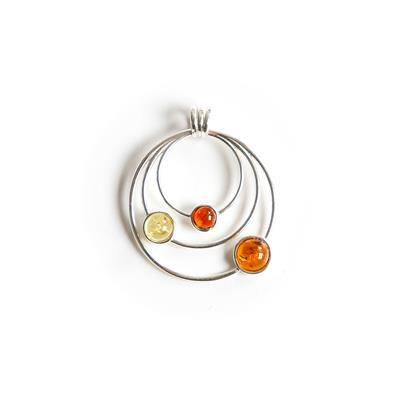 Baltic Multi Colour Amber Sterling Silver Circled Pendant Approx 28x33mm (Cognac, Cherry, Lemon)