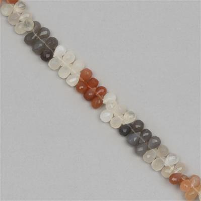 135cts Multi Colour Moonstone Graduated Faceted Drops Approx 7x5 to 10x6mm, 18cm Strand.