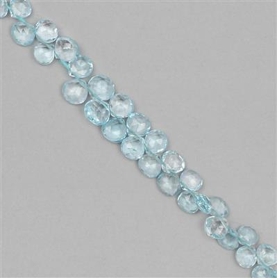 45cts Blue Topaz Graduated Faceted Drops Approx 4 to 6mm, 18cm Strand.