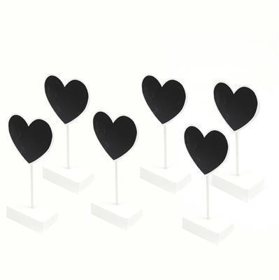 White Heart Chalkboard Card Holder - 6pcs