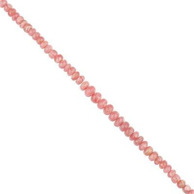 72cts Rhodochrosite Graduated Plain Rondelles Approx 2x1 to 7x4mm, 18cm Strand.