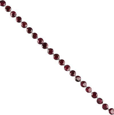 50cts Garnet Faceted Coins Approx 5 to 6mm, 28cm Strand.