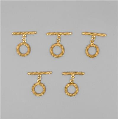 Gold Plated Copper Spiral Toggle Clasp Approx 36mm T-Bar & 20mm Round (5pcs)