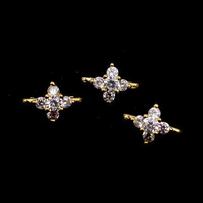 Gold Plated 925 Sterling Silver Cubic Zirconia Two Row Spacers, Approx 11mm, 3pcs