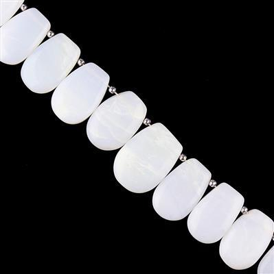 245cts Natural White Opal Graduated Plain Fancy Shapes Approx 23x15 to 31x21mm, 16cm Strand.