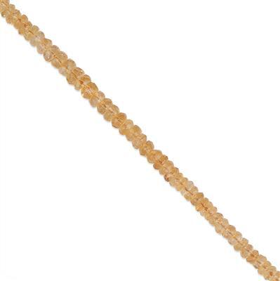 50cts Citrine Graduated Faceted Rondelles Approx 2x1 to 5x3mm, 30cm Strand.
