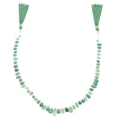 70cts Green Colour Dyed Onyx Graduated Plain Drops Approx From 5x3 to 13x8mm, 32cm Strand.