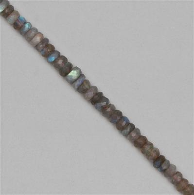 60cts Labradorite Graduated Faceted Rondelles Approx 4x2 to 7x3mm, 18cm Strand.
