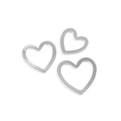 Silver Plated Base Metal Nested Hearts Approx 22mm&20mm&16mm,3 Hearts/Set